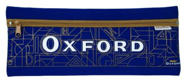 "HELIX OXFORD ""EXTRA LONG"" PENCIL CASE NEOPRENE SINGLE POCKET CASE [Blue & Gold]"